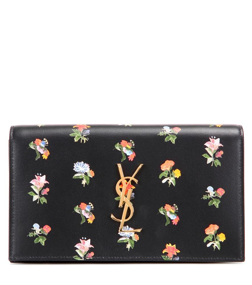 saint laurent shopping bag - Saint laurent Classic Monogram Leather Clutch in Floral (black) | Lyst