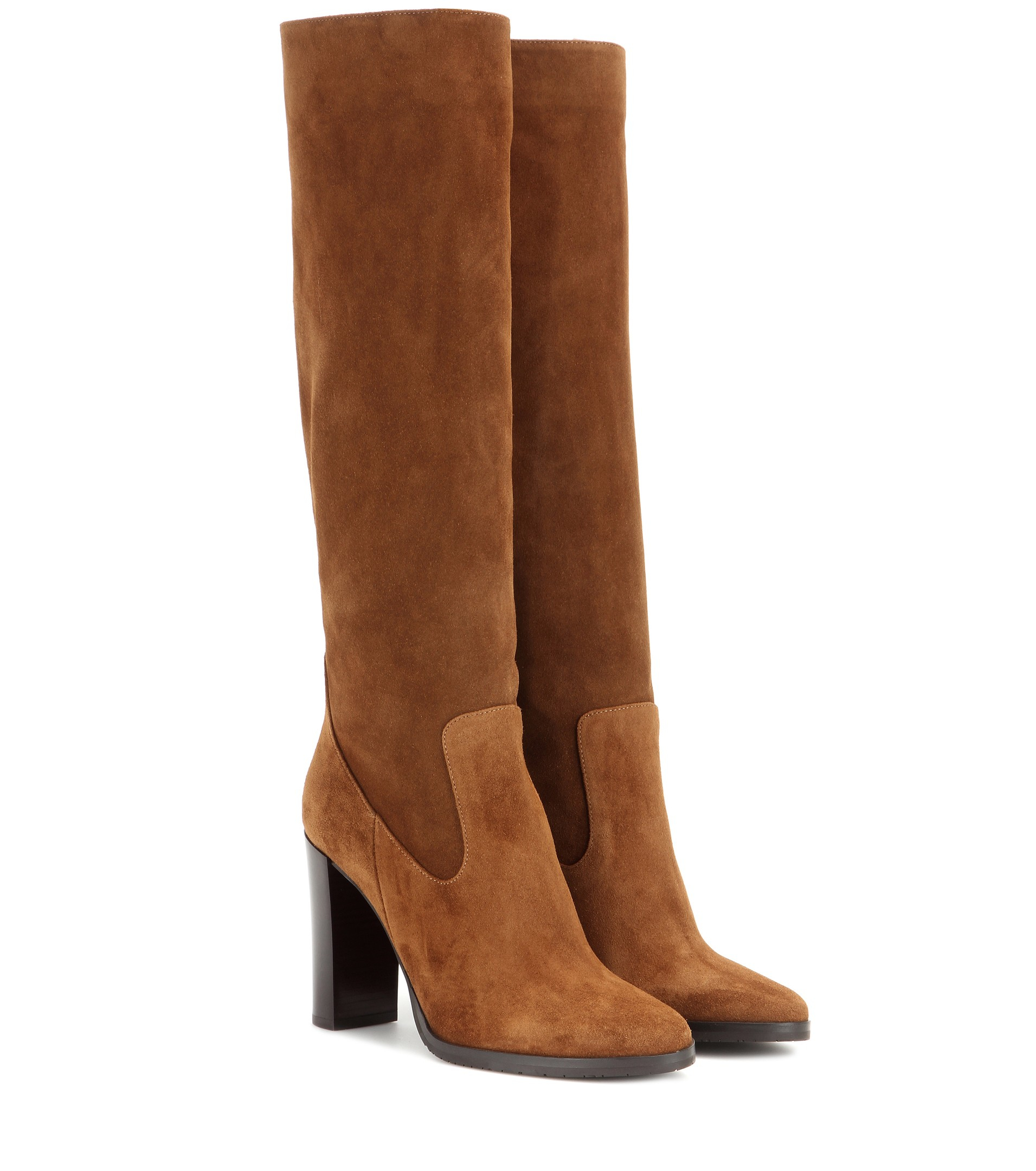bf3dbfd9154 Jimmy Choo Honor 95 Suede Knee-High Boots in Brown - Lyst