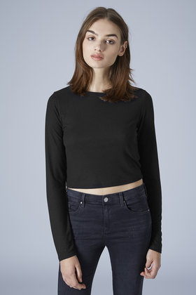 c22854ce031851 TOPSHOP Tall Long Sleeve Ribbed Crop Top in Black - Lyst