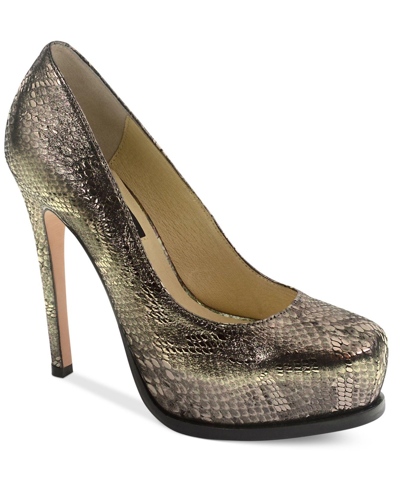 Light Silver Shoes Mid Heel Uk