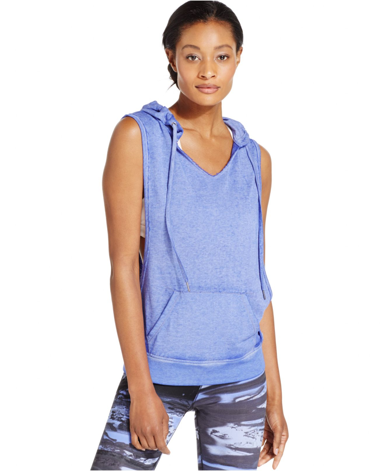 Calvin klein Performance Sleeveless Pullover Hoodie in Blue | Lyst