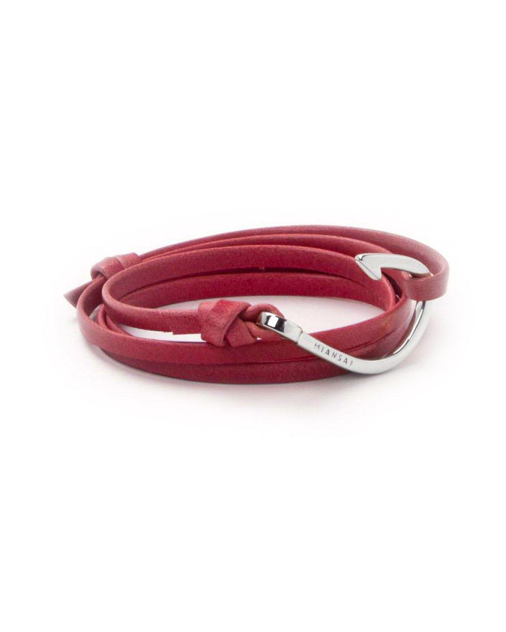 Miansai silver fish hook and flamingo pink leather wrap for Leather fish hook bracelet
