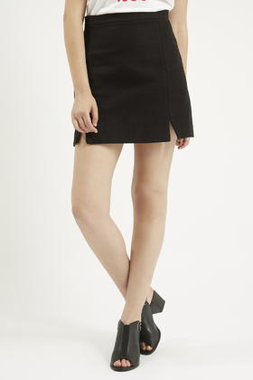 Topshop Tall A-Line Notch Hem Skirt in Black | Lyst