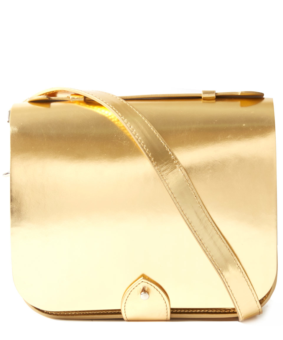 Lyst gold mini leather satchel bag in metallic jpg 960x1153 Gold leather  handbags 76c15748ed621