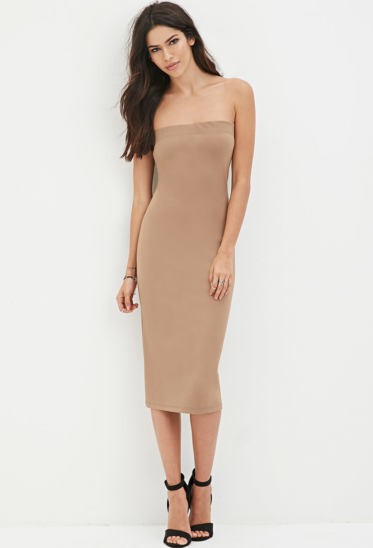 b123d9d4955 Lyst - Forever 21 Strapless Bodycon Midi Dress in Brown