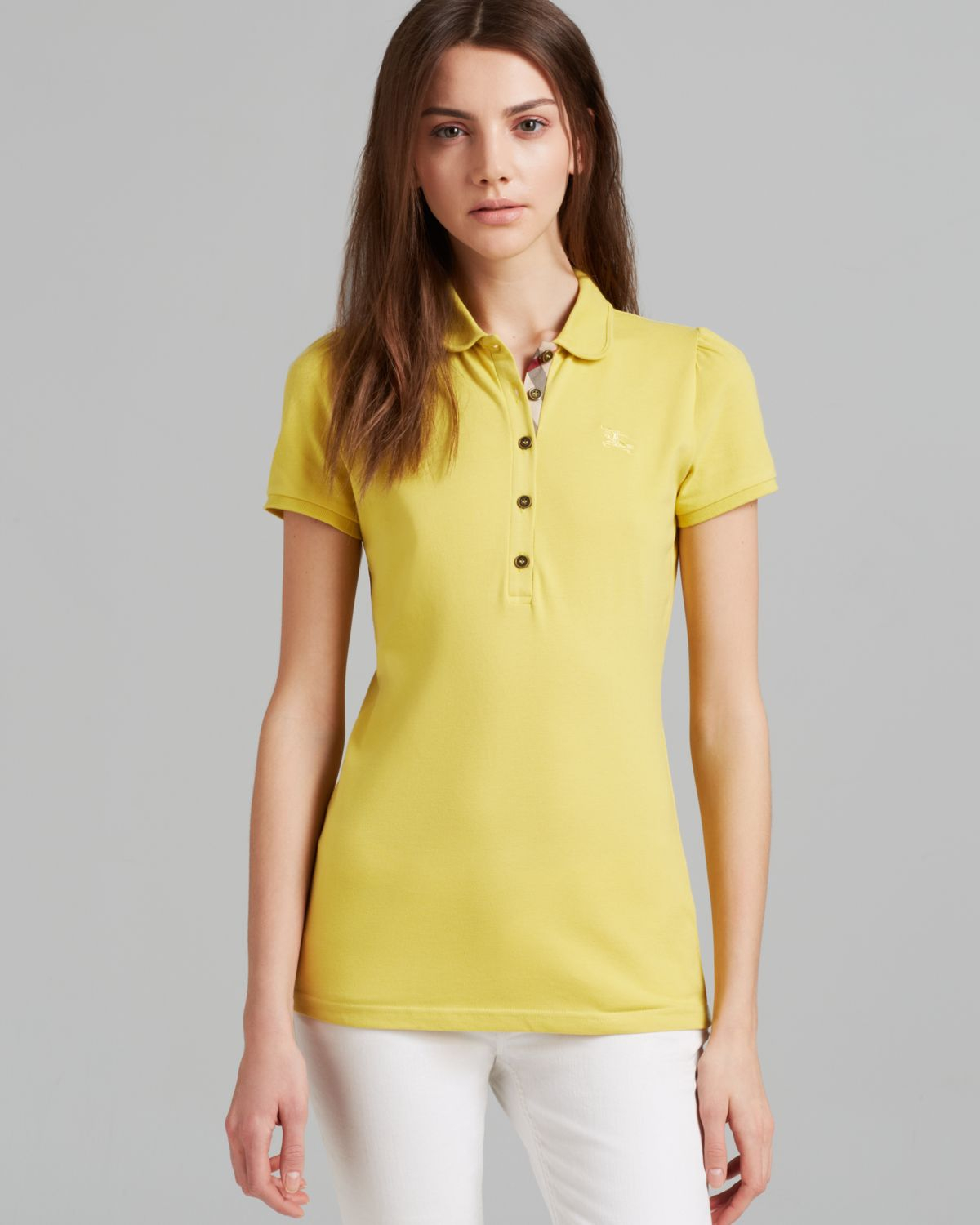Lyst burberry brit peter pan collar polo shirt in yellow for Burberry shirt size chart