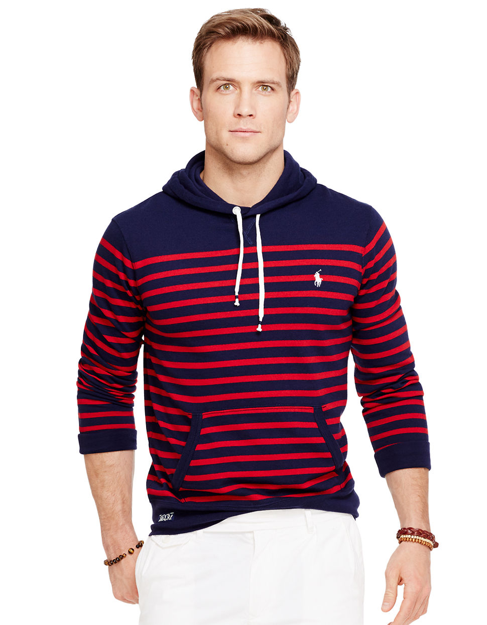 polo ralph lauren striped terry hoodie in blue for men lyst. Black Bedroom Furniture Sets. Home Design Ideas