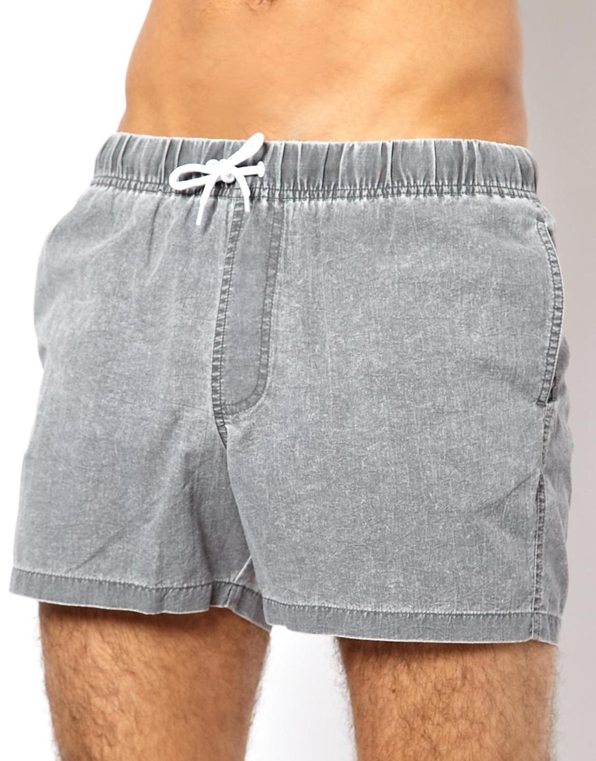 23b9f1fe1e ASOS Swim Shorts With Acid Wash In Short Length in Gray for Men - Lyst