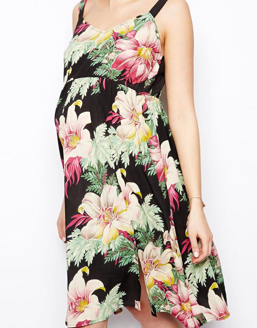 Lyst Asos Exclusive Midi Dress In Hawaiian Floral Print