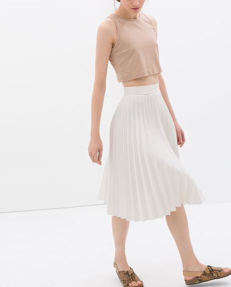 zara coated pleated skirt in white white lyst