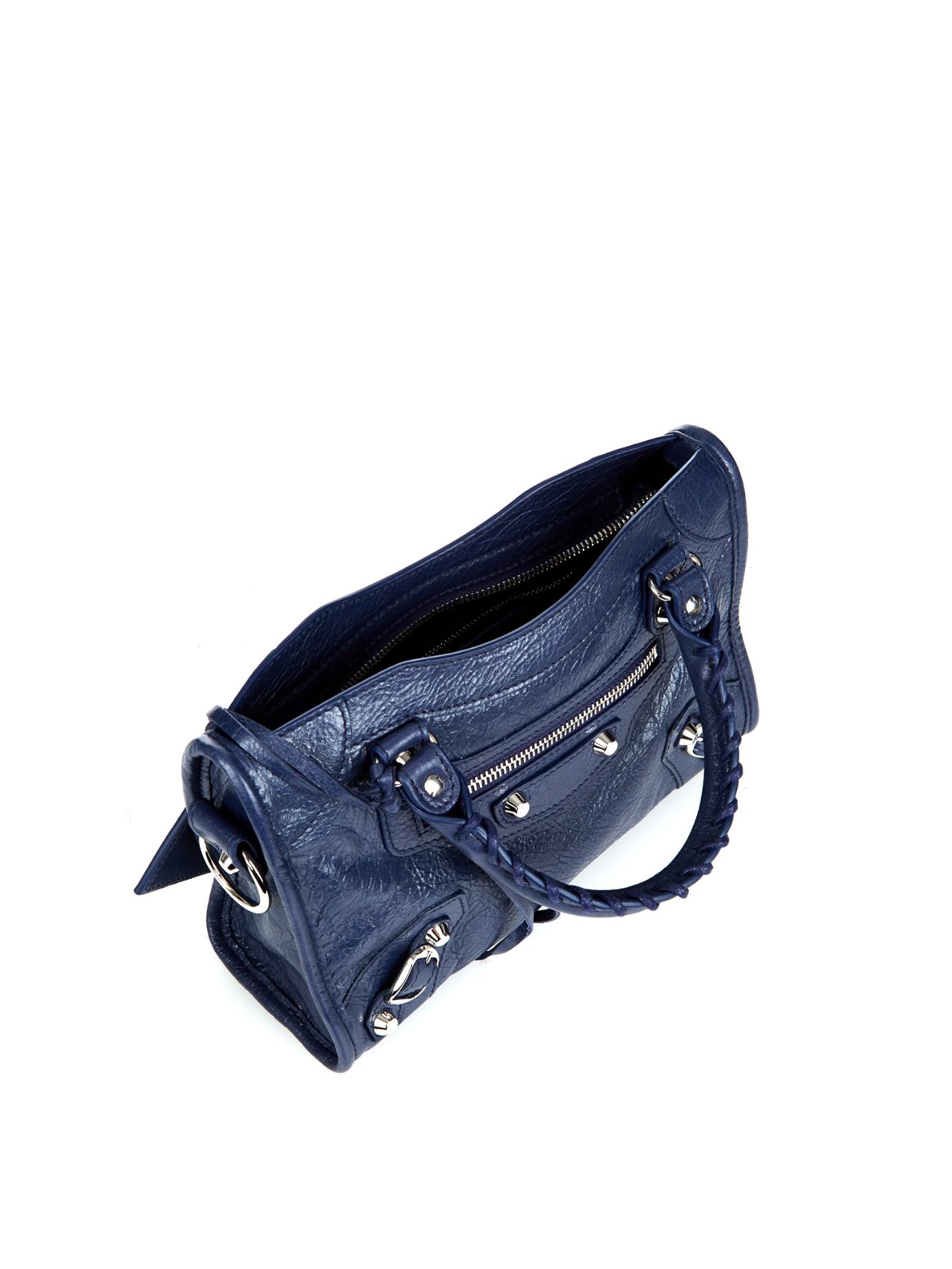 84da34243 Balenciaga Classic Mini City Leather Cross-body Bag in Blue - Lyst
