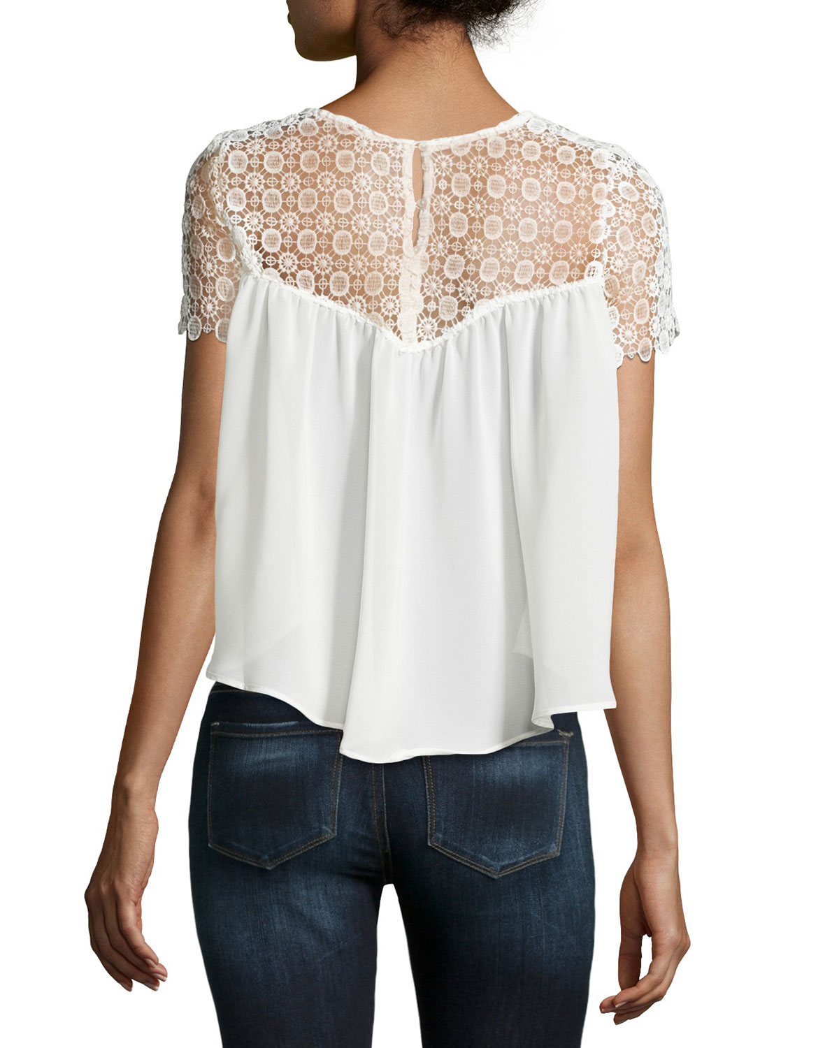 Dex Lace Short-sleeve Flowy Blouse in White | Lyst