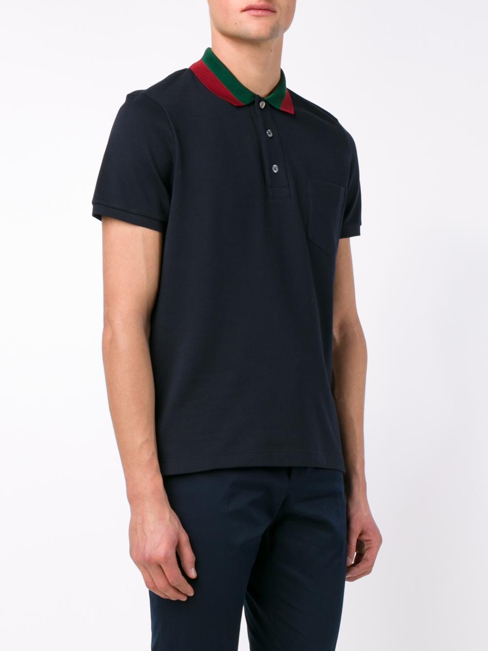 543fdb38b Gucci Striped Collar Polo T-shirt in Blue for Men - Lyst
