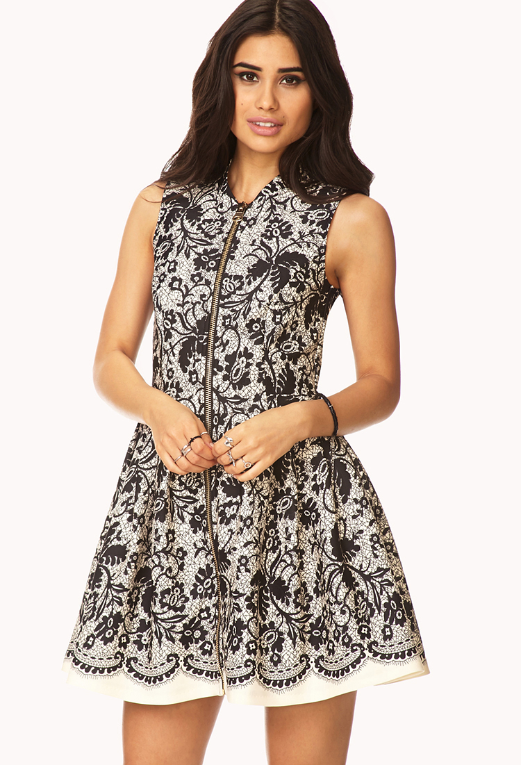 Forever 21 Elegant Abstract Fit Amp Flare Dress In Black