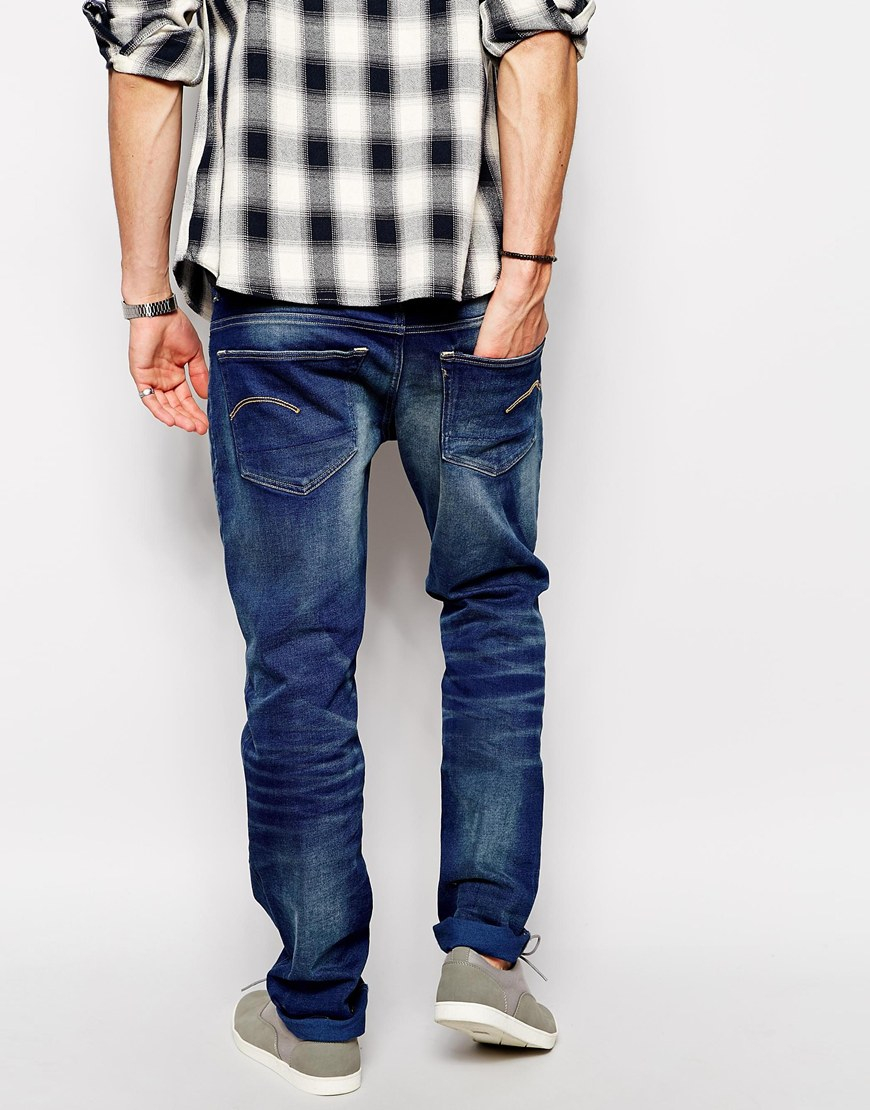 g star raw g star jeans 3301 low tapered firro medium aged in blue for men lyst. Black Bedroom Furniture Sets. Home Design Ideas