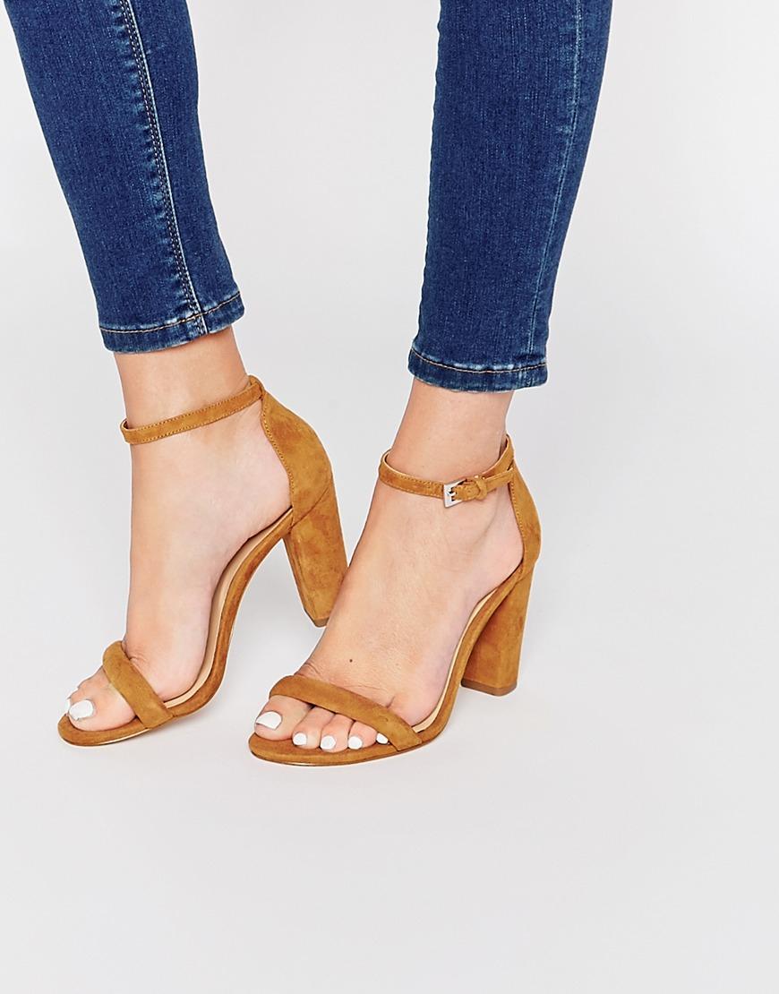 Aldo Cicci Cognac Block Heel Sandals In Beige Cognac Lyst