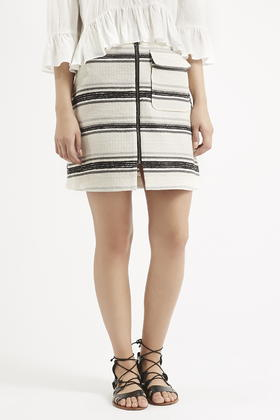 Topshop Tall Striped Zip A-Line Skirt in Natural | Lyst