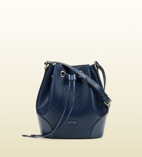 Gucci Bright Diamante Leather Bucket Bag in Blue