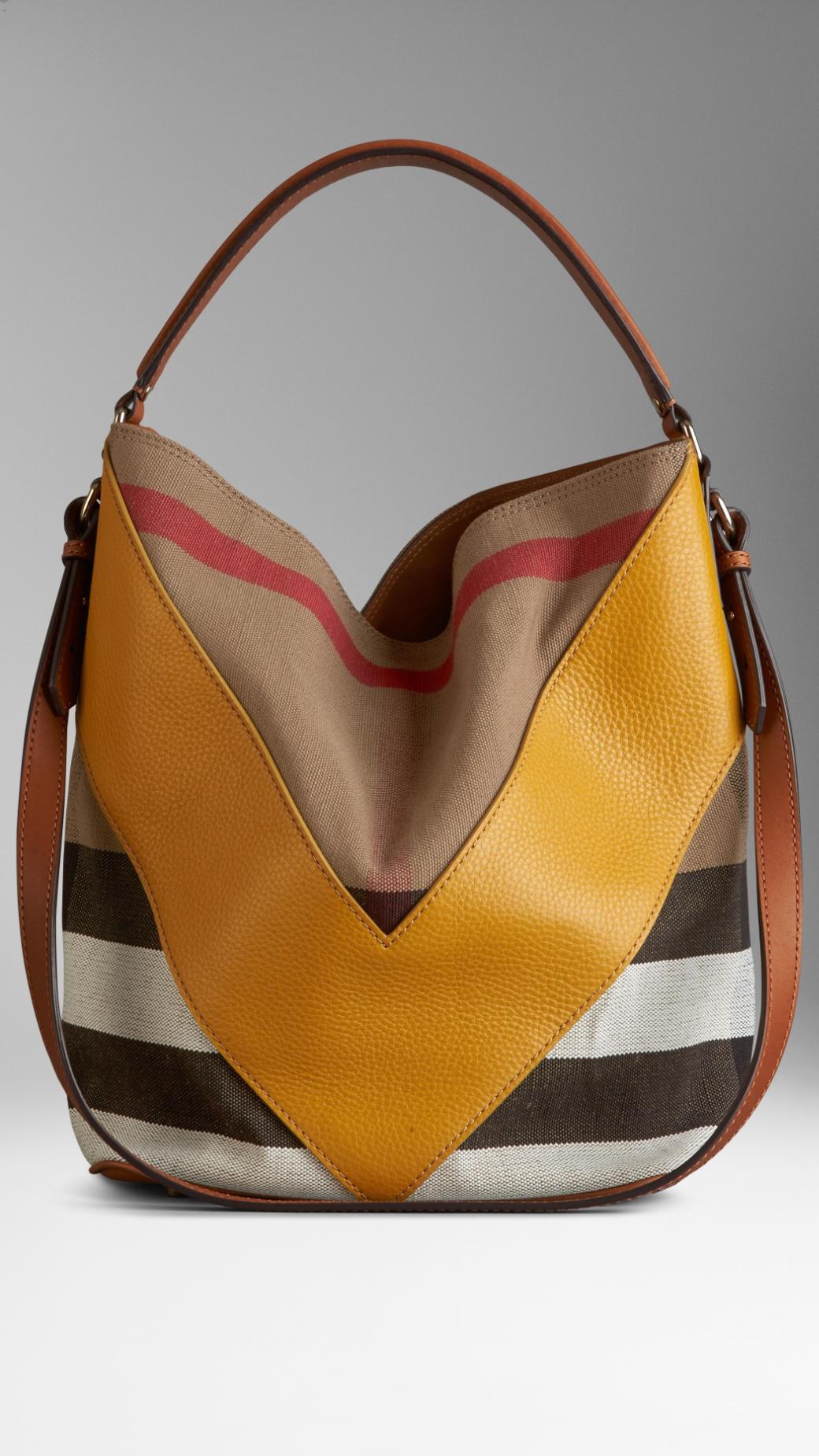 02cc10371403 Lyst - Burberry Medium Leather Chevron Canvas Check Hobo Bag