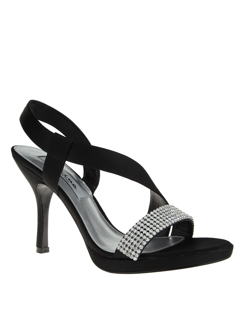 6fa9b6413ebc Lyst - Nina Gloria Satin And Jewel Heels in Black