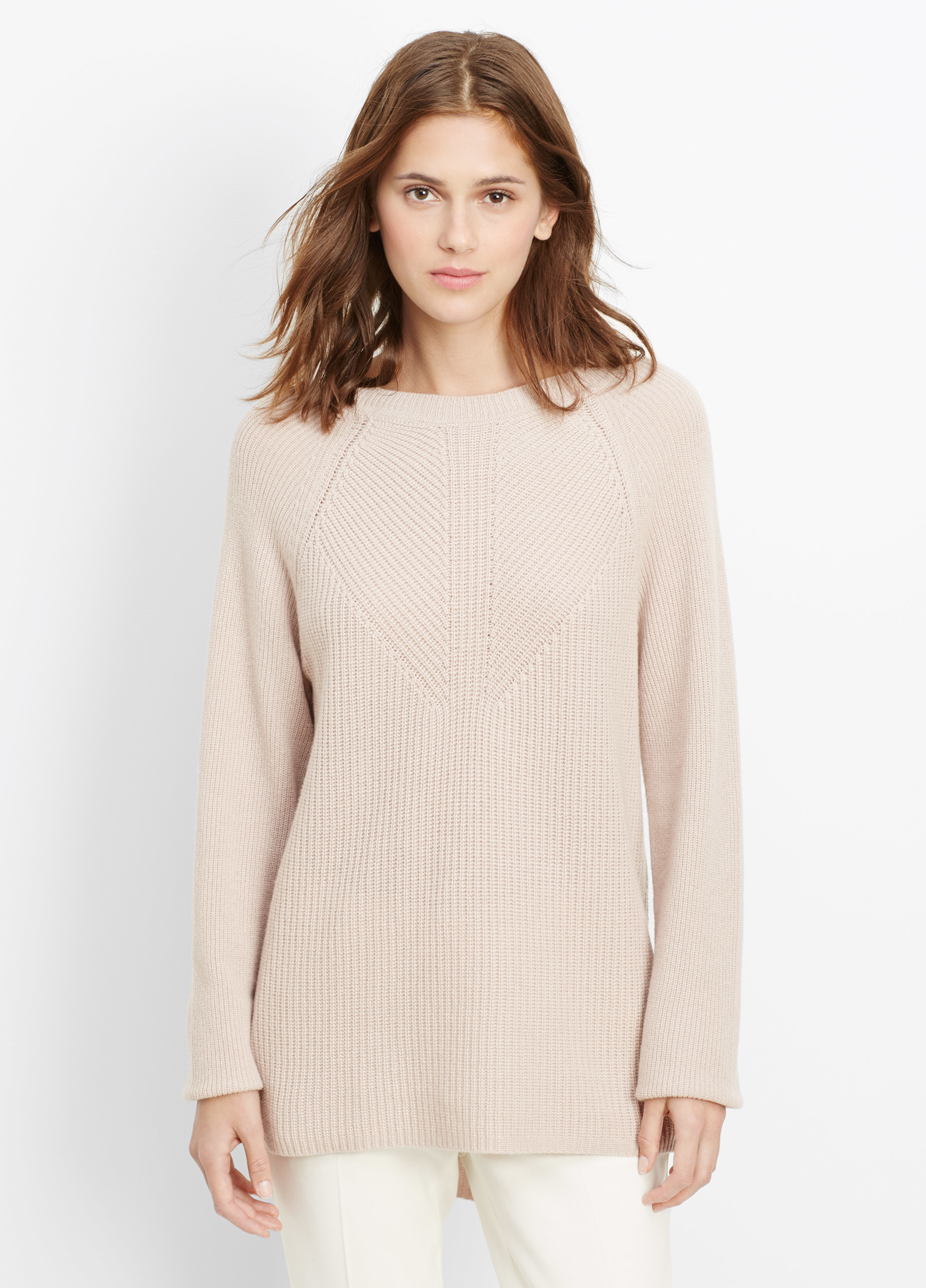 Vince Wool Cashmere Directional Rib Sweater in Natural | Lyst