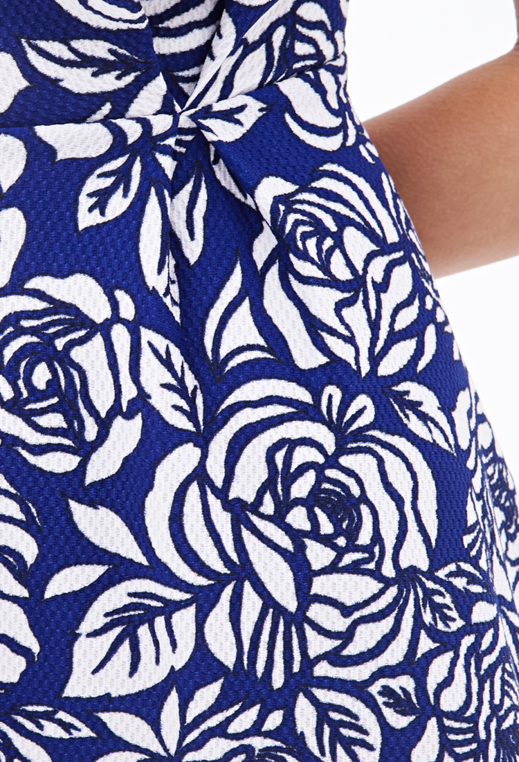 Forever 21 Floral Pleated A-line Dress in Blue