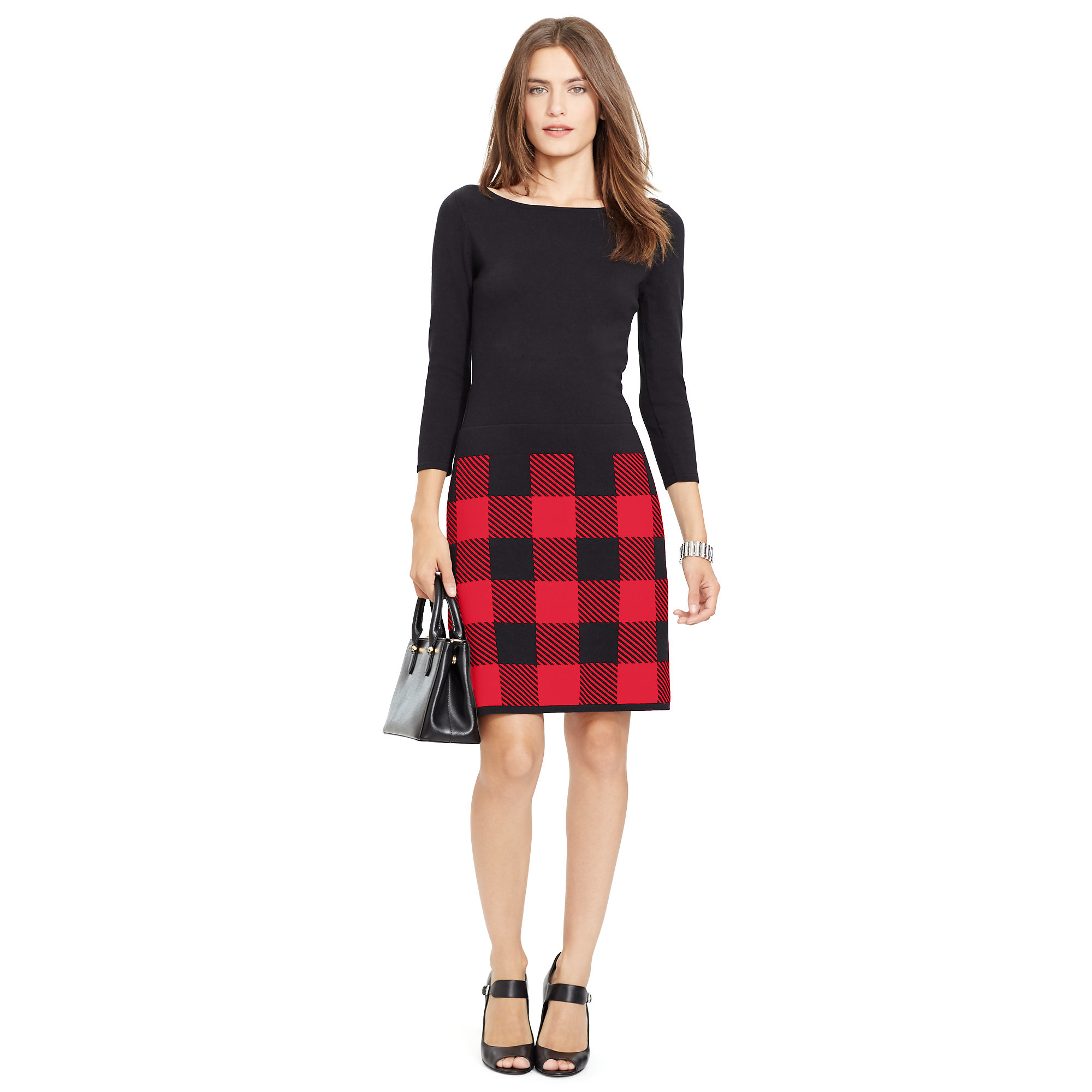 f1d48e8d819 Ralph Lauren Buffalo Check Sweater Dress in Red - Lyst