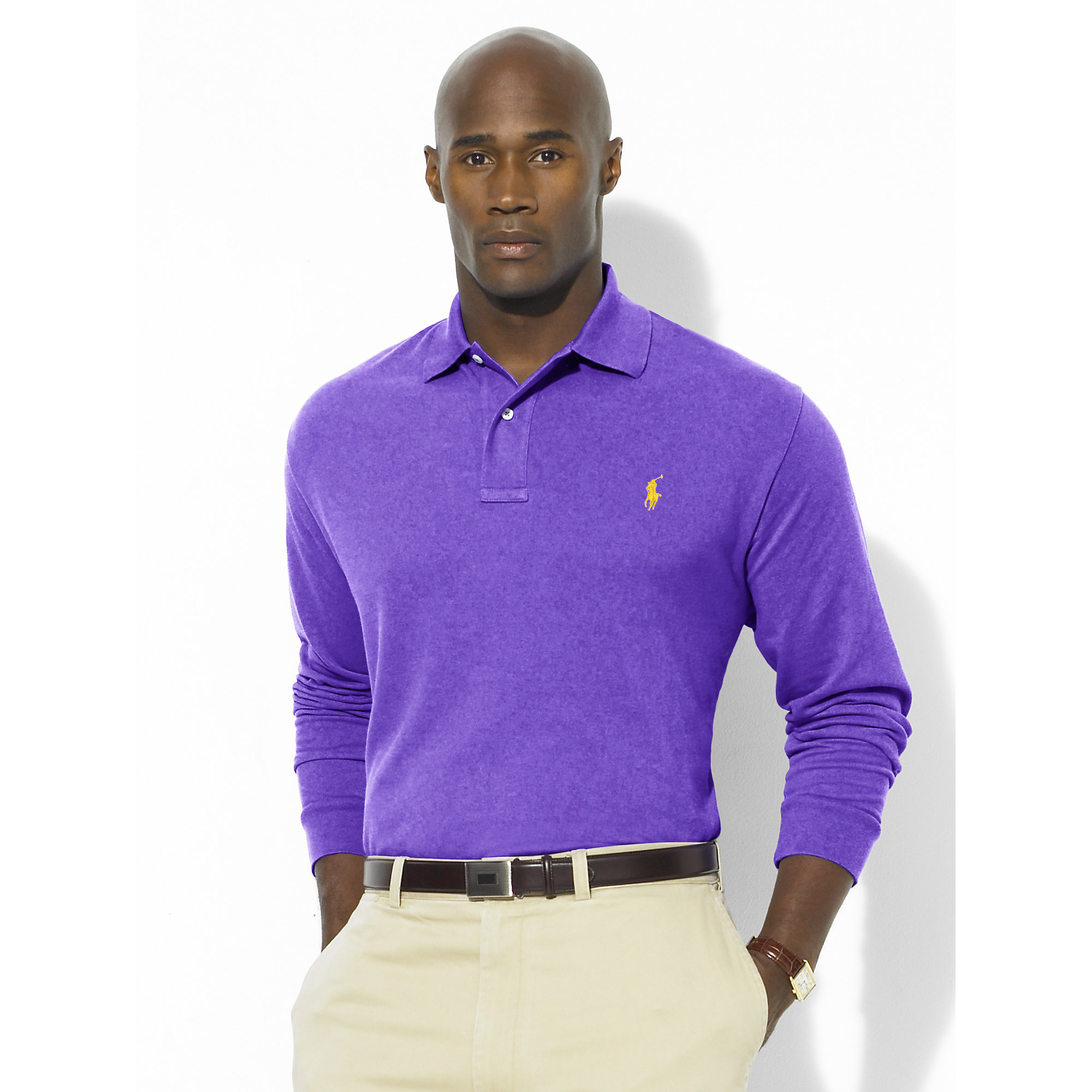 Ralph lauren classic fit long sleeved polo in purple for for Long sleeve purple polo shirt