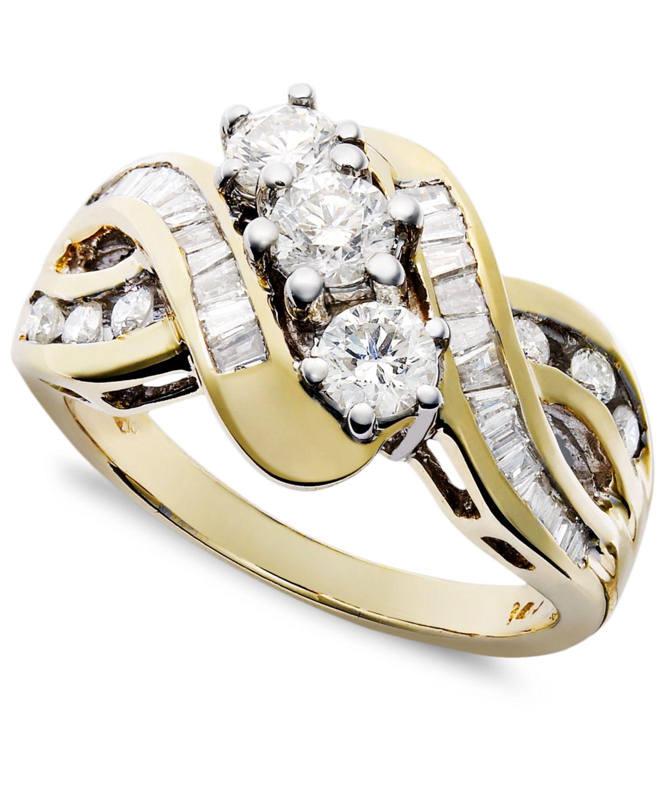 Macy s Three stone Diamond Braid Ring In 14k Yellow White Gold 1 Ct