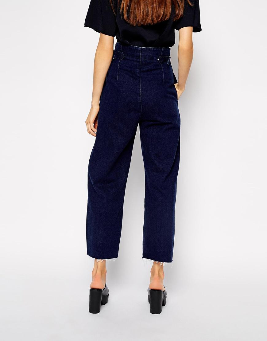 Asos High Waist Wide Leg Jean In Indigo in Blue   Lyst