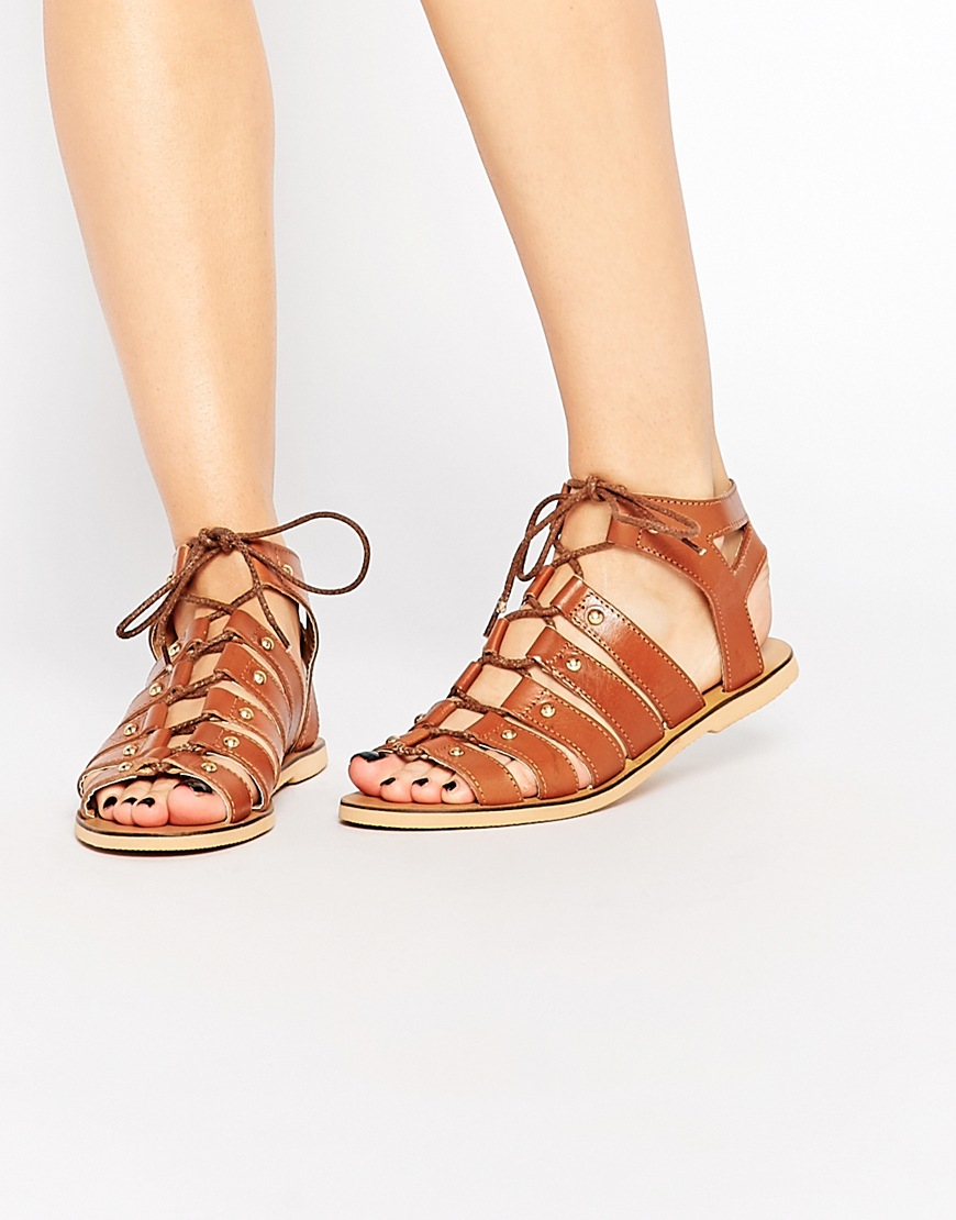 63ca19ef05d5c2 Lyst - London Rebel Gladiator Leather Flat Sandals in Brown