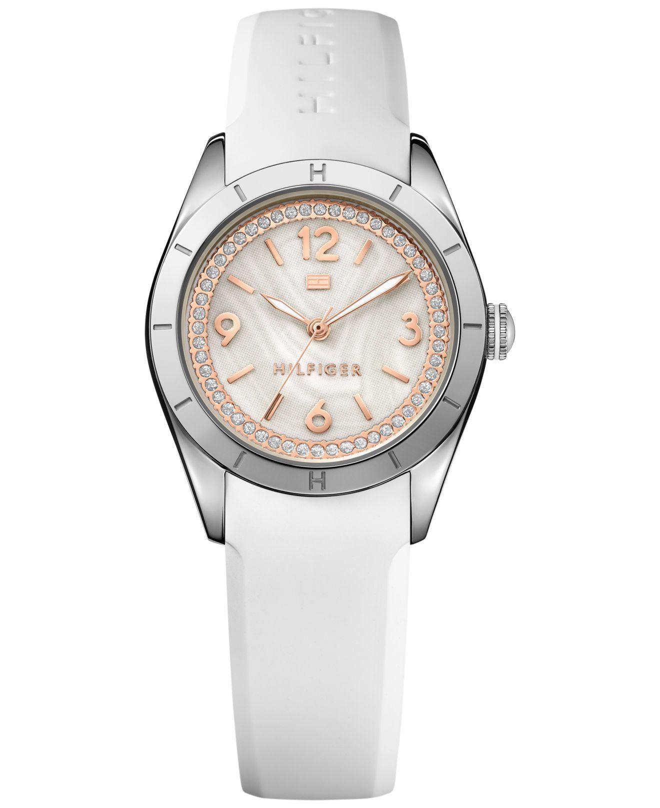 265815829 Tommy Hilfiger Women's White Silicone Strap Watch 30mm 1781549 in ...