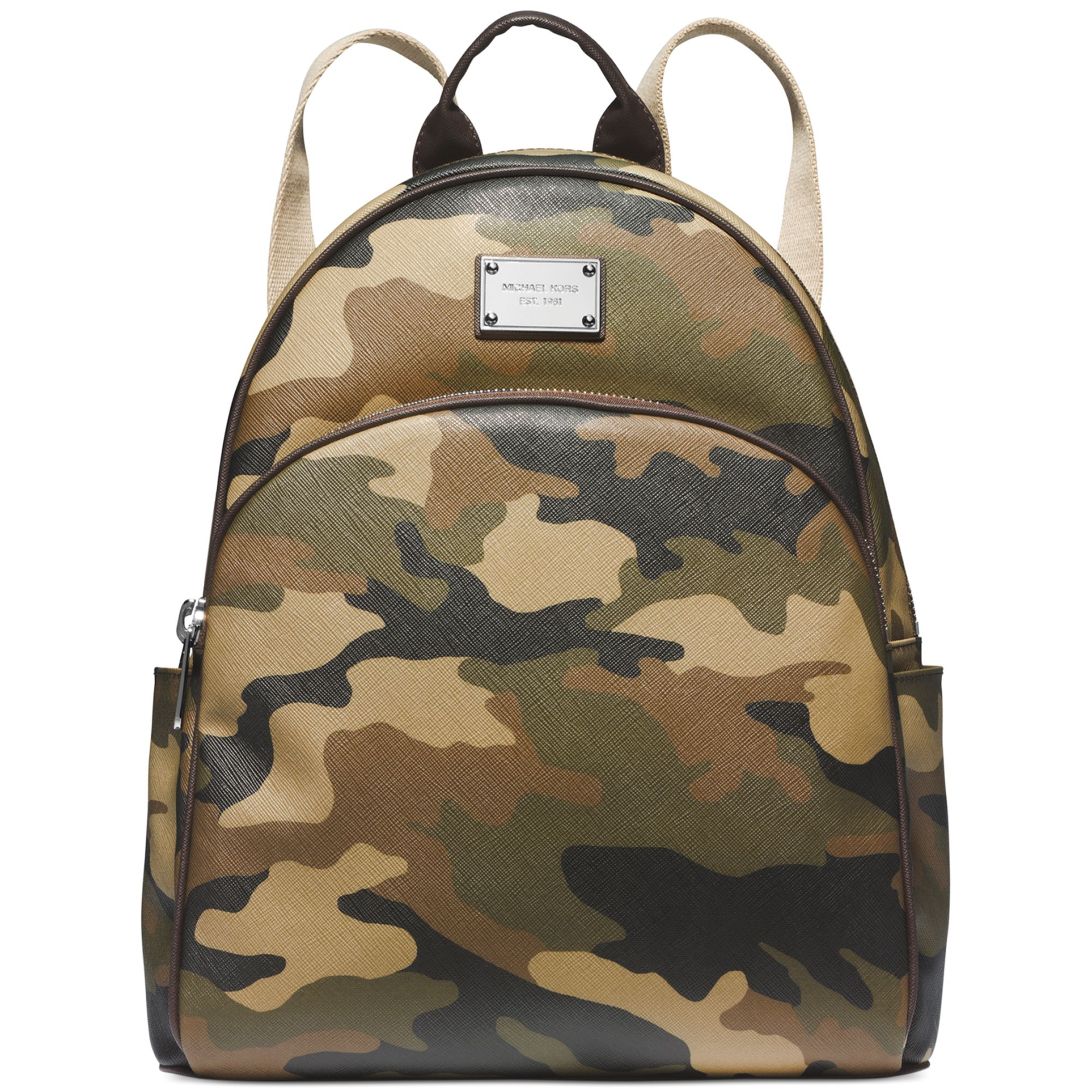 michael kors michael large camo backpack in green duffel lyst. Black Bedroom Furniture Sets. Home Design Ideas