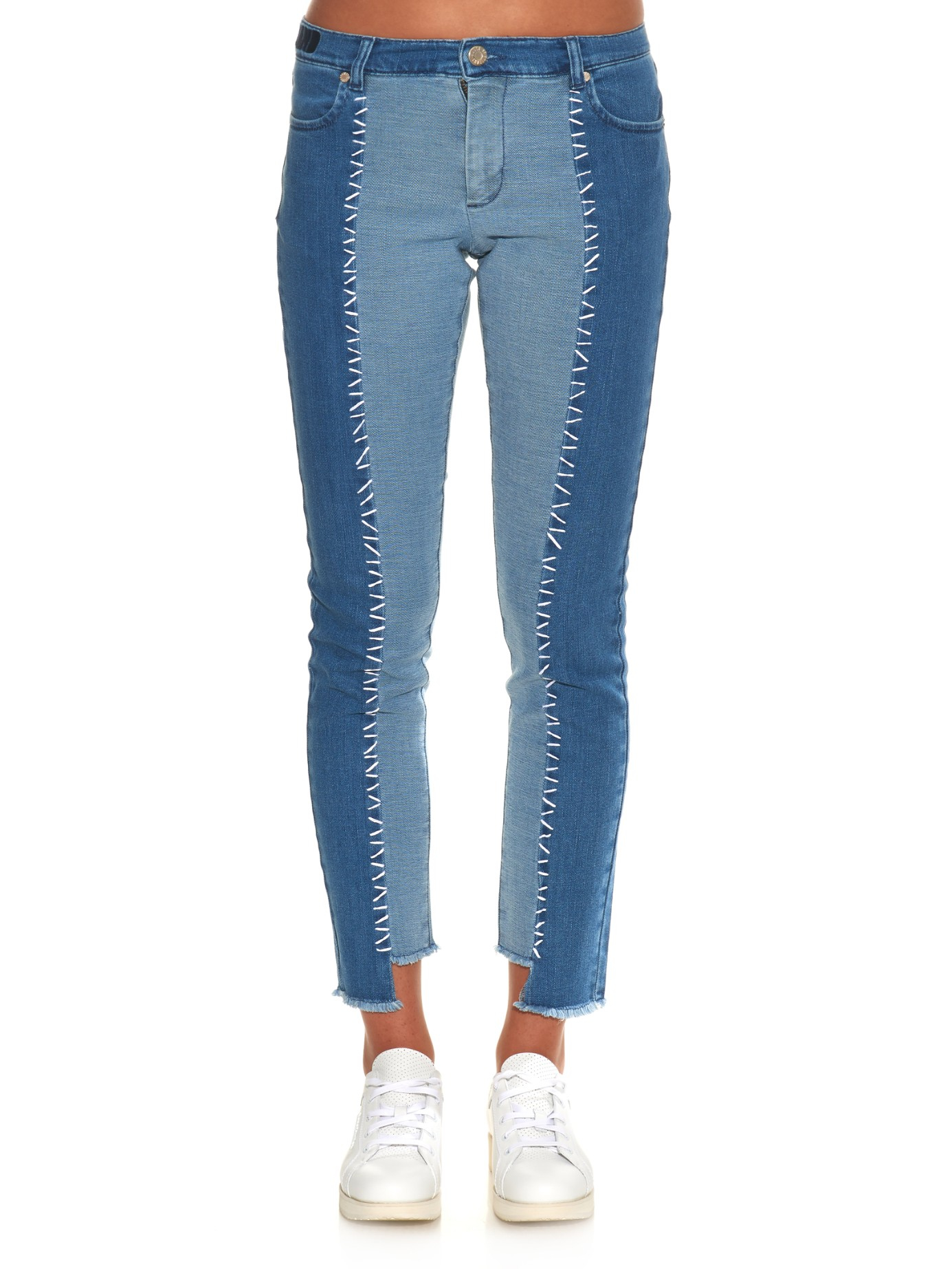House Of Holland Patchwork Denim Skinny Jeans In Blue Lyst