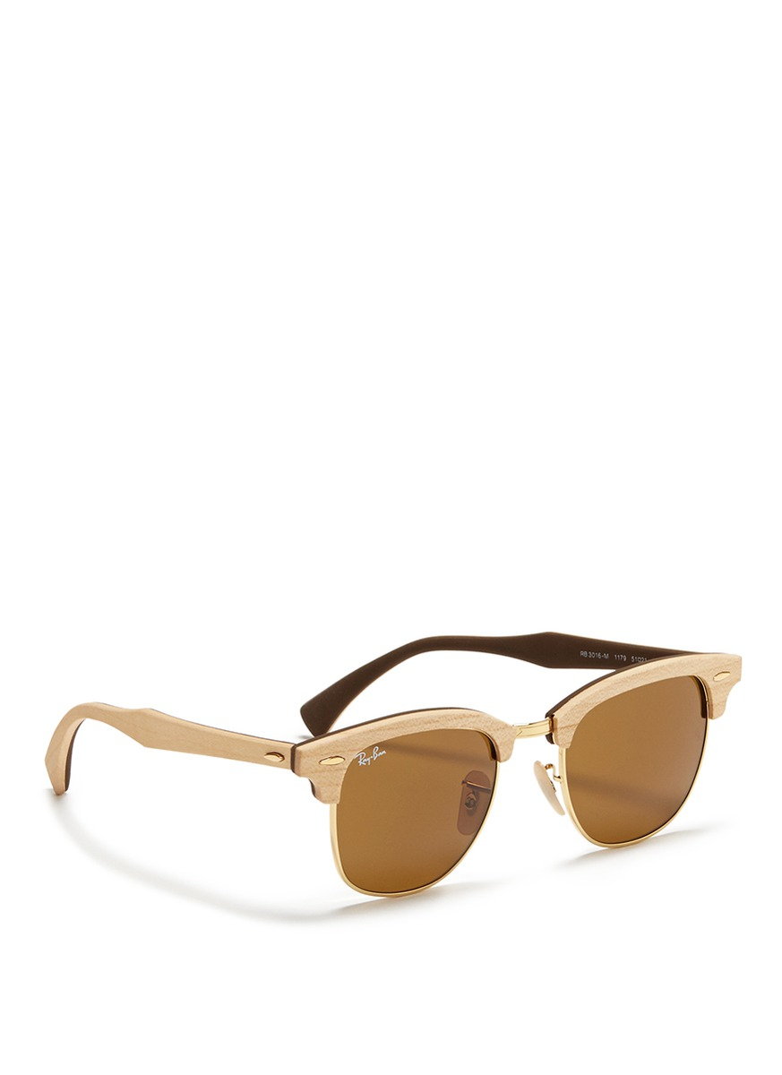 Ray-ban \'clubmaster Wood\' Browline Sunglasses in Metallic | Lyst