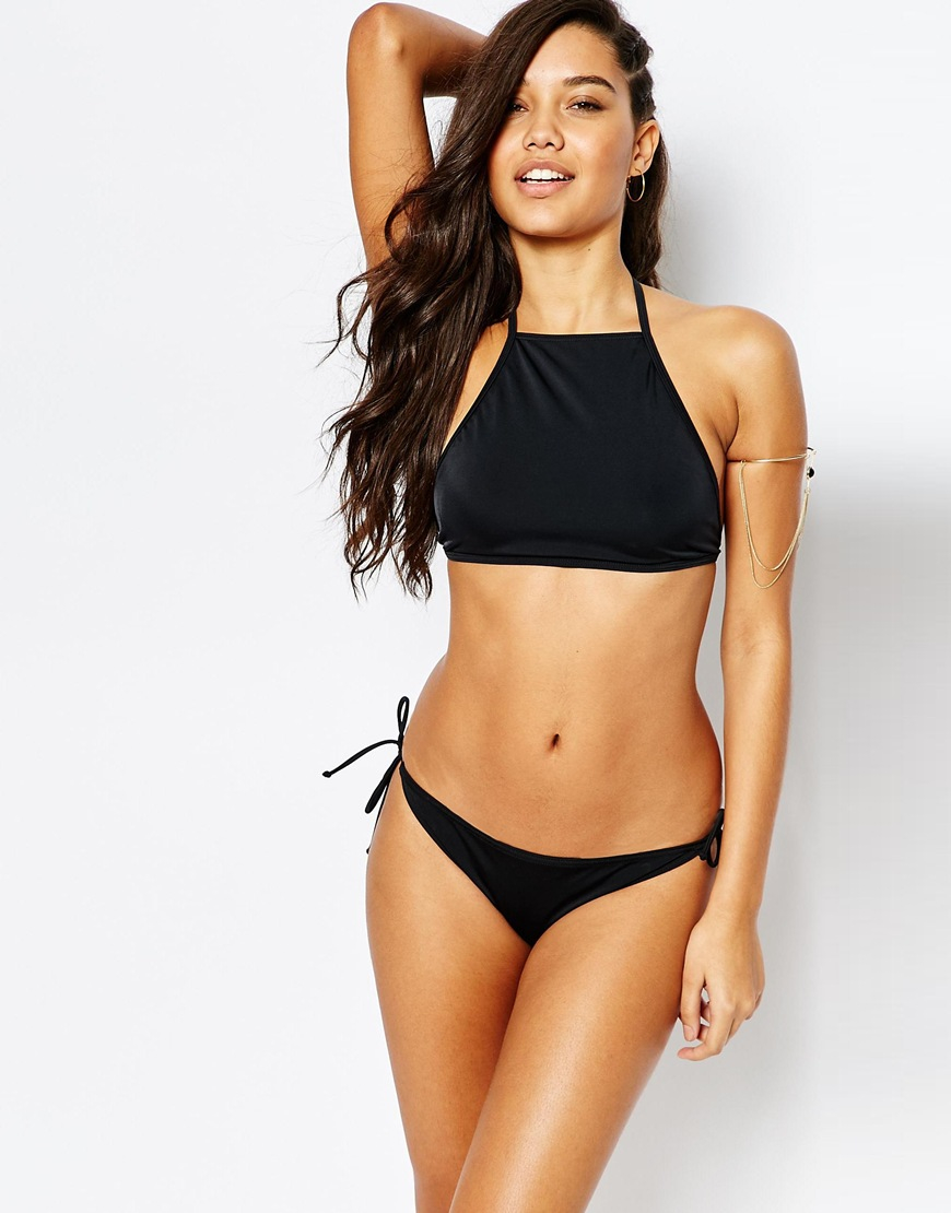 Missguided Mix Amp Match Halter Neck Bikini Top In Black Lyst