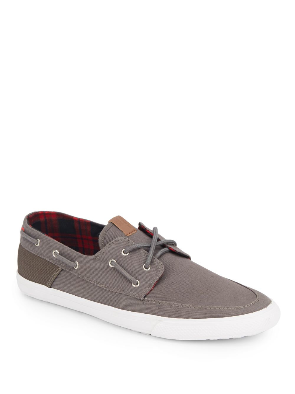 Ben Sherman Smith Canvas Boat Shoes In Gray For Men Lyst