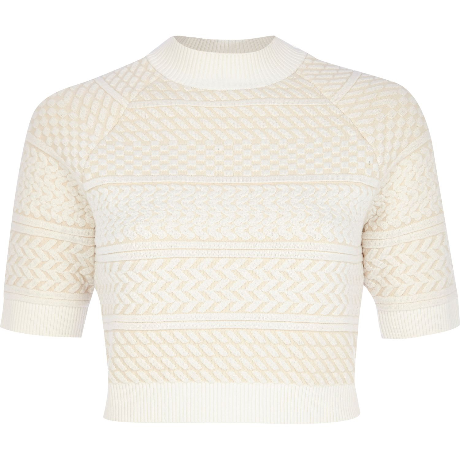 1adf3774e6b901 River Island Cream Textured Knitted Crop Top in Natural - Lyst