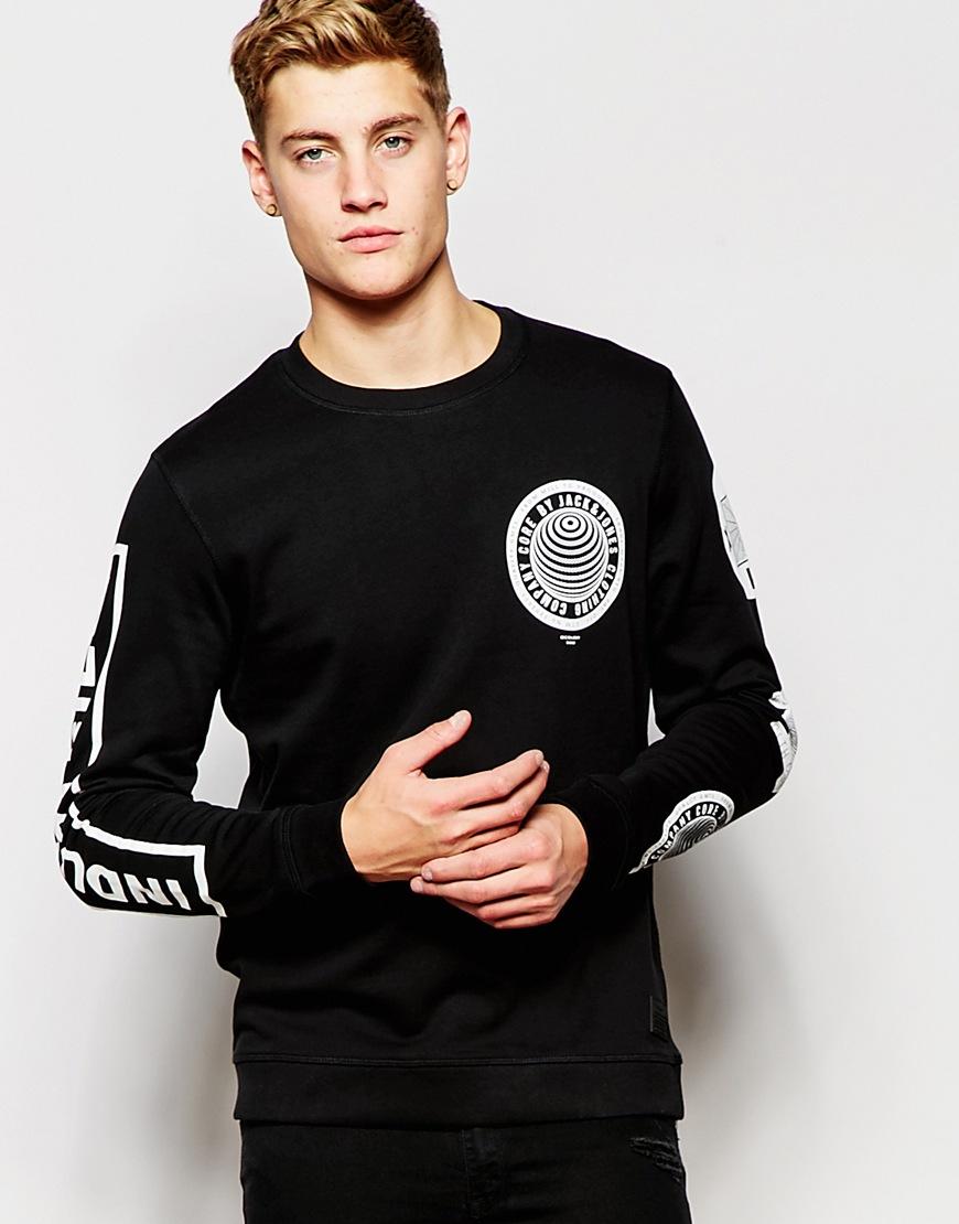 jack jones sweatshirt with sleeve print in black for men. Black Bedroom Furniture Sets. Home Design Ideas