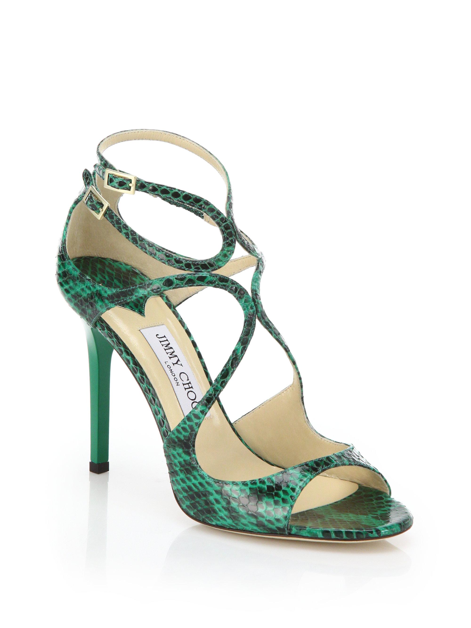 7e07667693 Jimmy Choo Lang Snakeskin Sandals in Green - Lyst