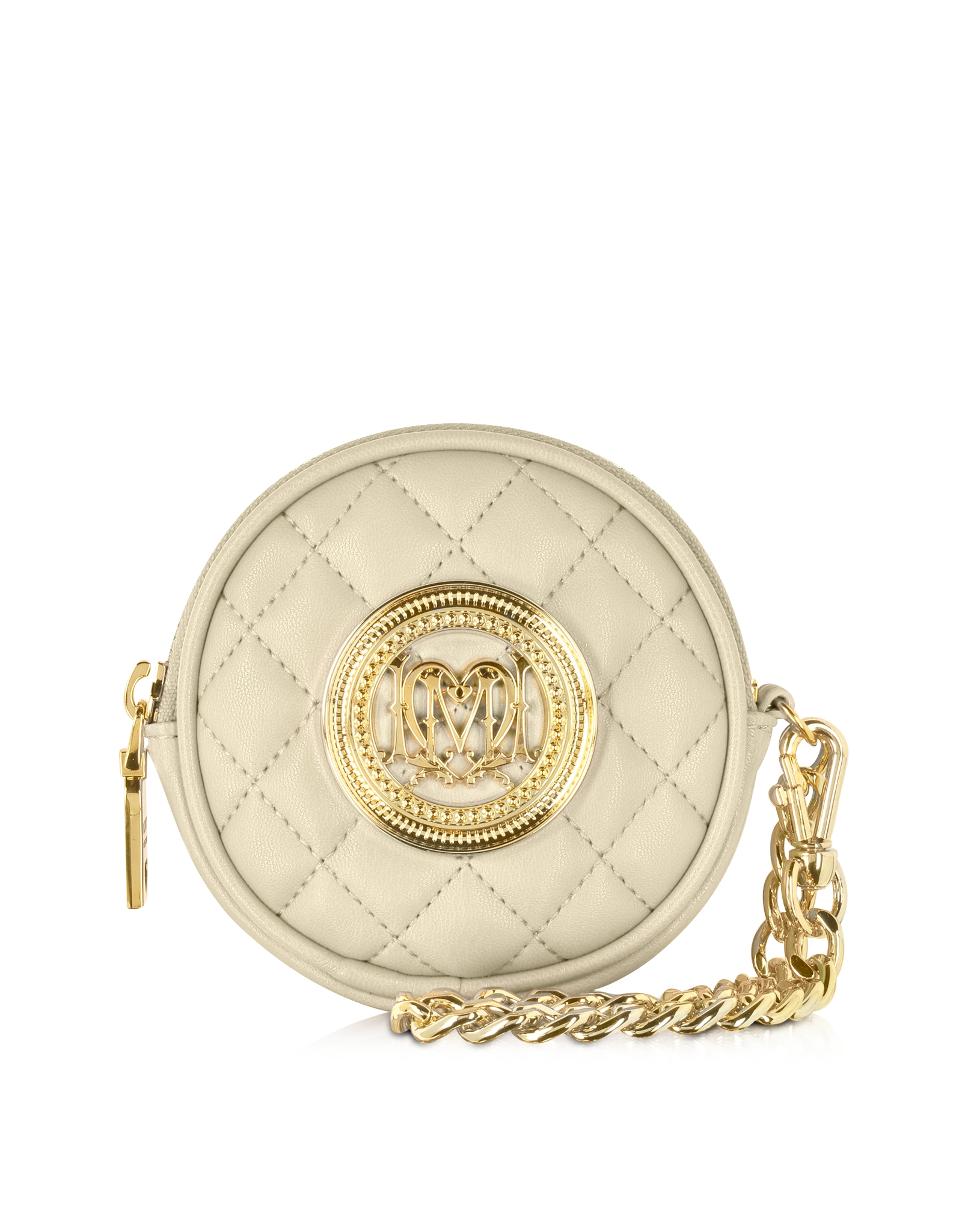 c518336b34 Love Moschino Ivory Quilted Eco Leather Round Clutch in Natural - Lyst
