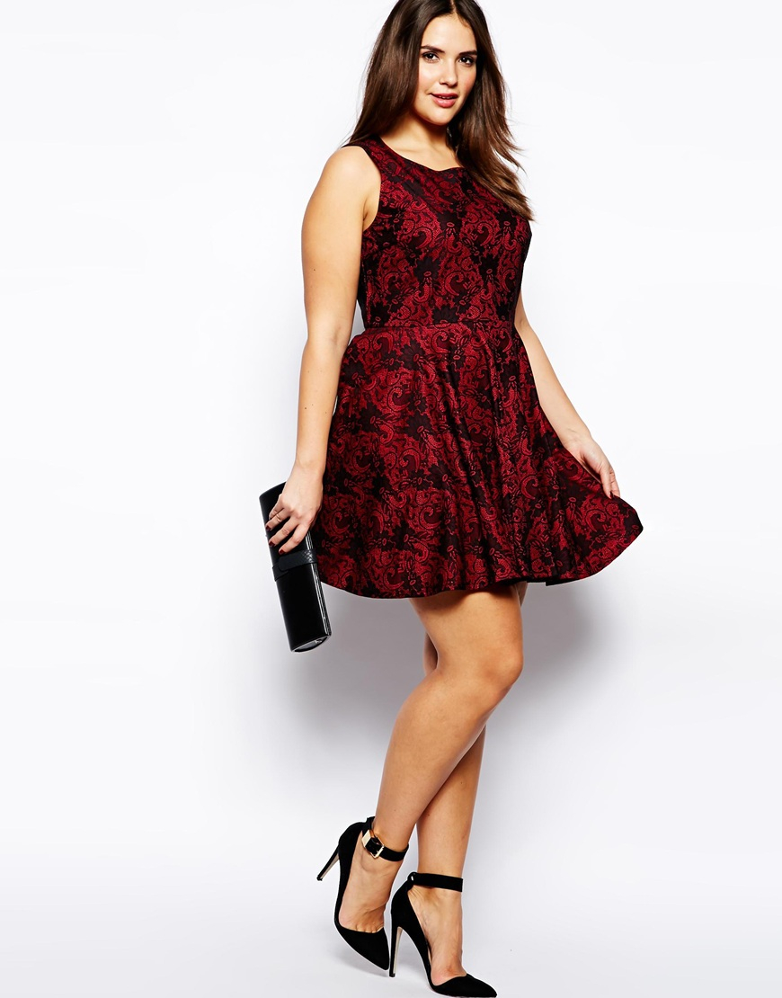 AX Paris Plus Size Bonded Lace Skater Dress in Red - Lyst