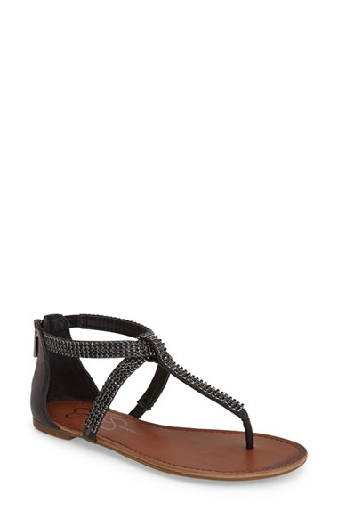 a256a3489f4 Lyst - Jessica Simpson  garreth  Studded Leather Thong Sandal in Black
