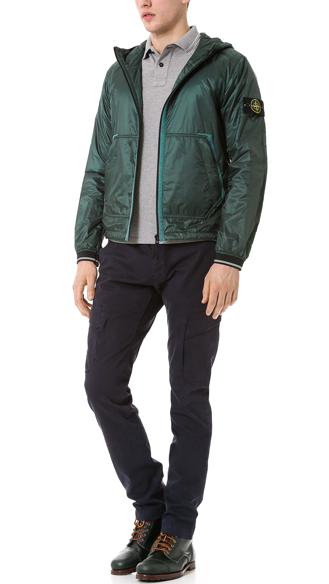 Stone Island Soft Shell: Stone Island Micro Rip Stop Jacket In Green For Men