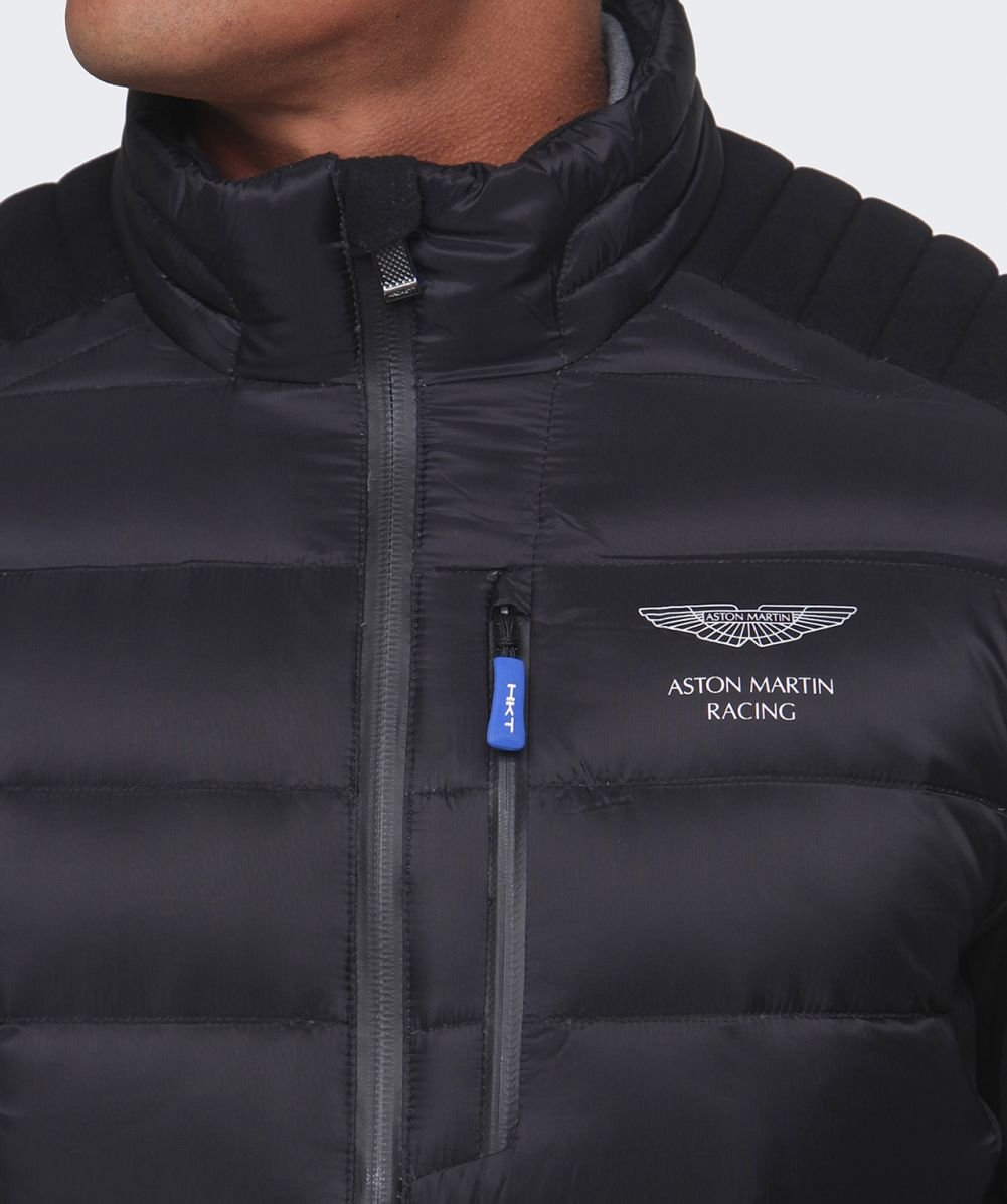 lyst hackett aston martin racing quilted jacket in black. Black Bedroom Furniture Sets. Home Design Ideas