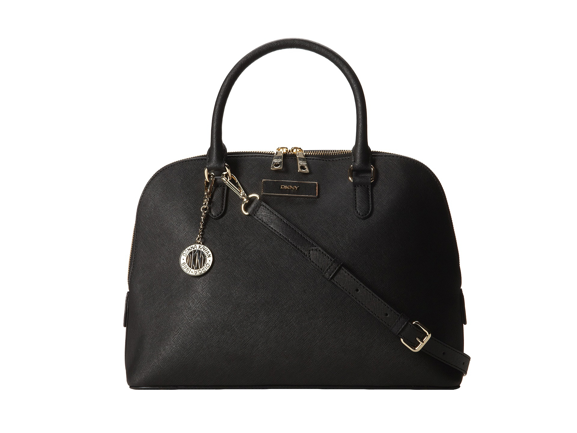dkny bryant park saffiano leather round satchel w det ss in black lyst. Black Bedroom Furniture Sets. Home Design Ideas