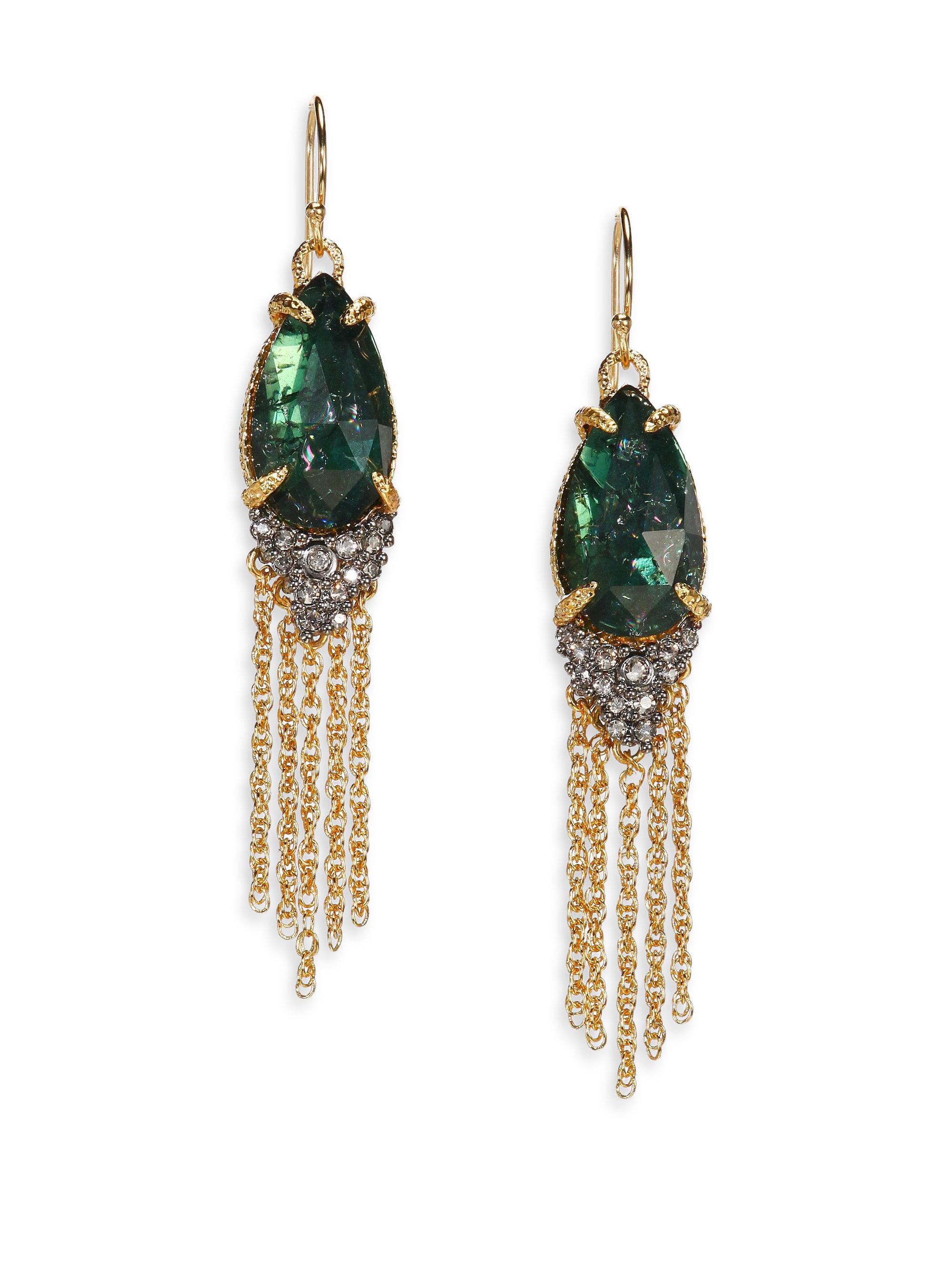 bittar prophecy doublet tassel earrings in green lyst