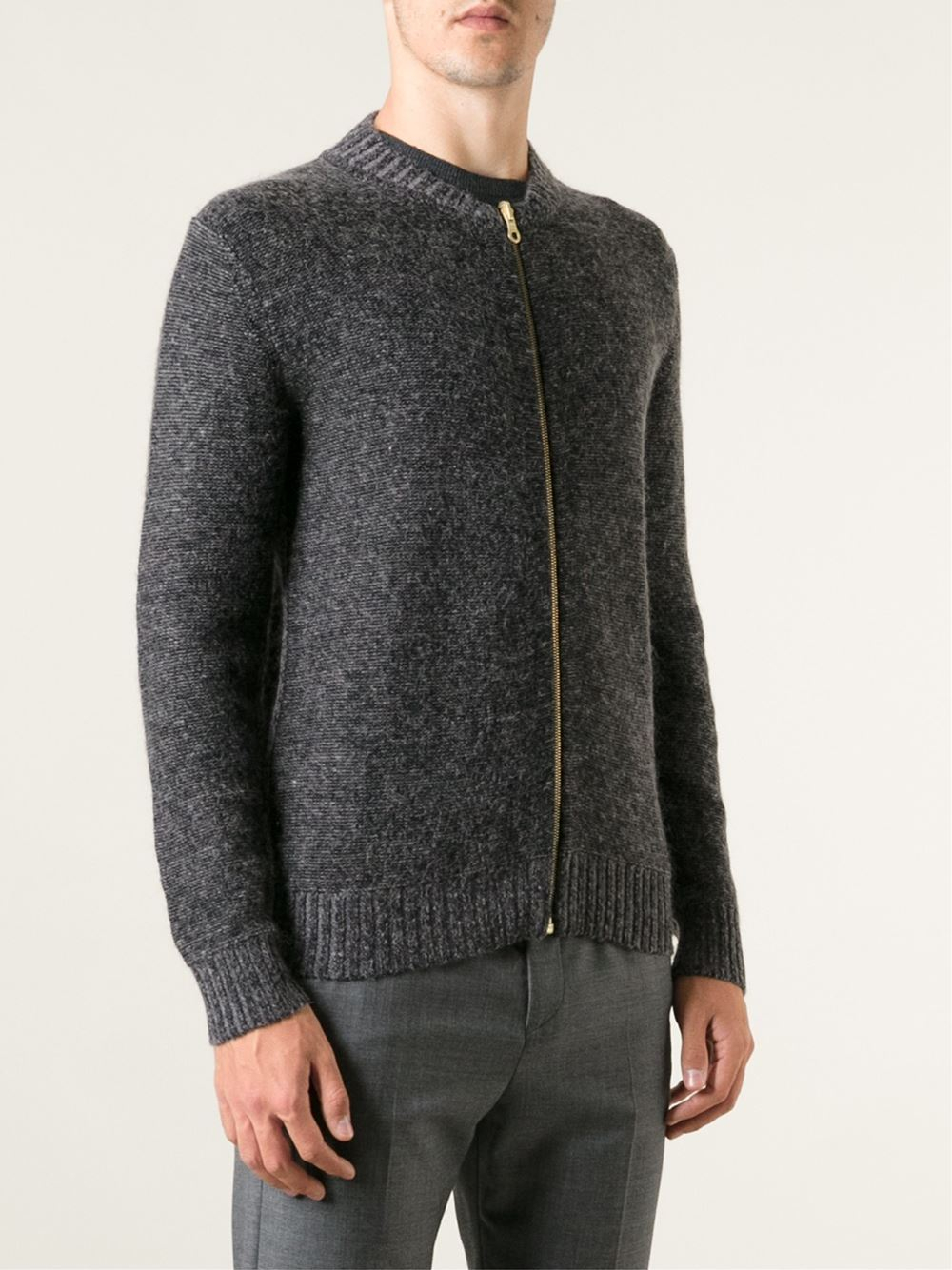 Ps by paul smith Zip Cardigan in Gray for Men | Lyst