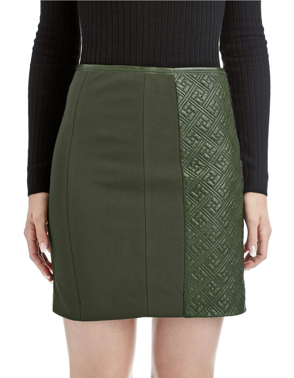 catherine malandrino avela quilted leather skirt in green