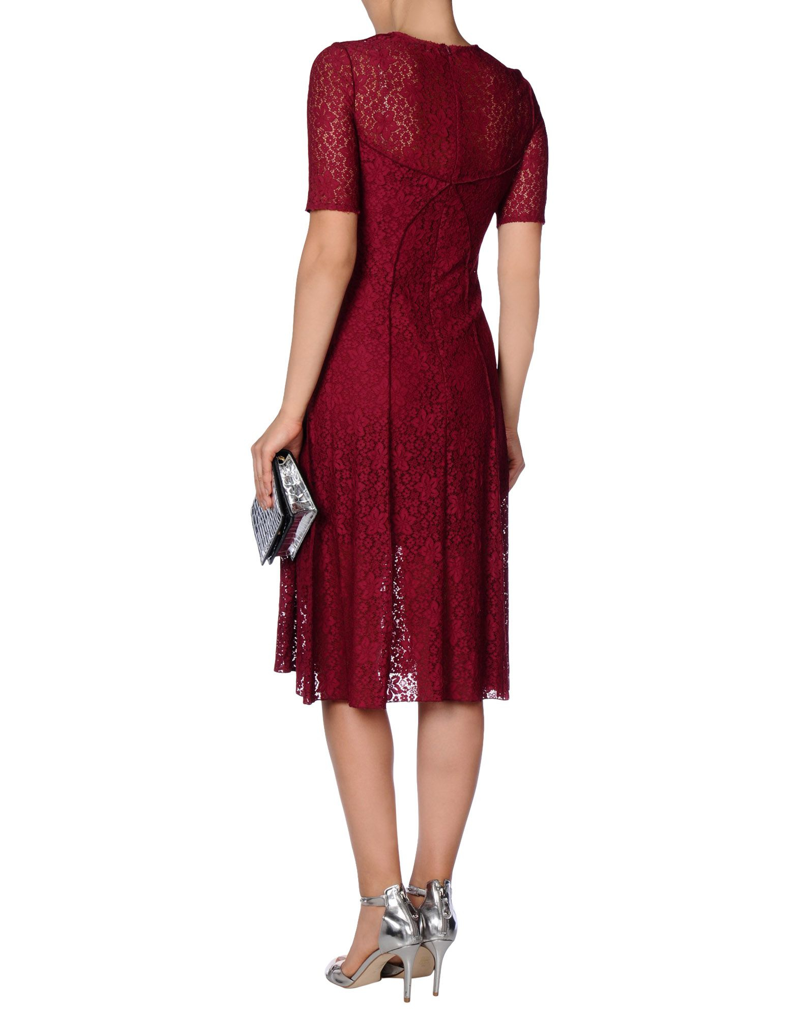 Lyst Nina Ricci Long Sleeve Lace Dress In Red